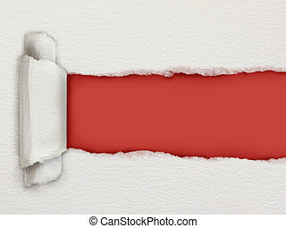 Torn piece of watercolour paper revealing a red background for copy space