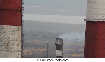 Smoke from factory chimneys - Pollution of atmosphere. Smoke...
