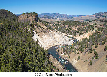 Calcite springs area of the Yellowstone National Park,...