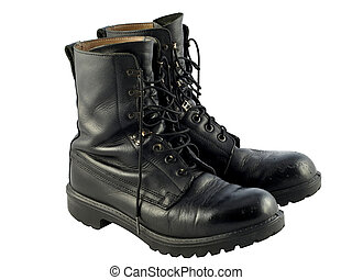 Black British Army Issue Combat Boots - A pair of worn black...