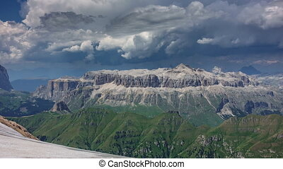 Dolomites plateau time lapse from Marmolada top point - Time...