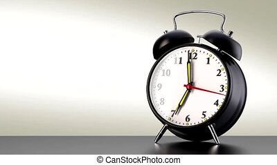 vintage black alarm clock on white background. Time concept....