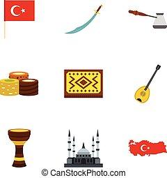 Turkey travel icons set, flat style - Turkey travel icons...
