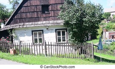 Rural house in the Czech village. Old rustic house.