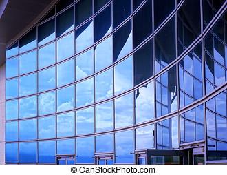 bâtiment,  façade, moderne, reflet