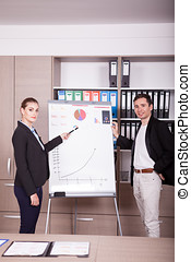 Corporate workers in an office next to a flip chart
