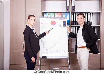 Businessman and businesswoman in office next to a flip-chart