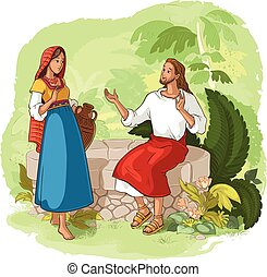 Jesus and the Samaritan Woman at the Well - Vector cartoon...