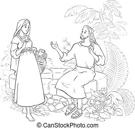 Jesus and the Samaritan Woman at the Well coloring page -...