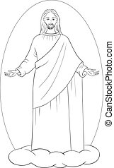 Jesus Christ in white robes standing on a cloud with arms...