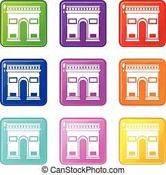 Triumphal arch set 9 - Triumphal arch icons of 9 color set...