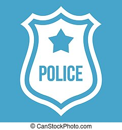 Police badge icon white isolated on blue background vector...