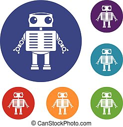 Robot with big eyes icons set in flat circle red, blue and...