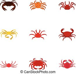 Types of crab icons set, cartoon style - Types of crab icons...