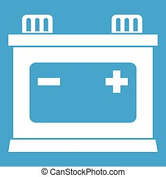 Car battery icon white isolated on blue background vector...