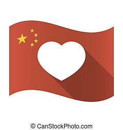 Isolated China flag with a heart
