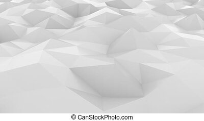 Fluctuating smooth white polygonal surface. Loopable hi-tech...