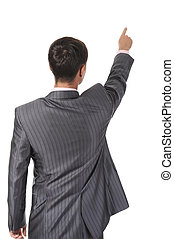 Businessman points finger up Isolated on white background