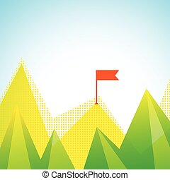 Mountain Peaks With Flag Illustration