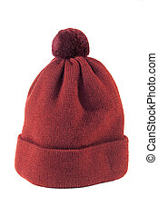 Knitted hat - Woolen knitted cap in red on a white...
