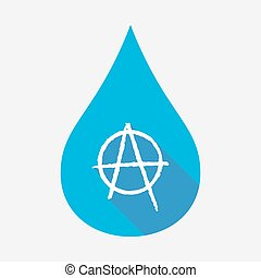 Isolated water drop with an anarchy sign - Illustration of...