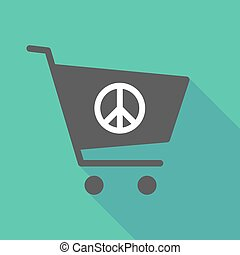 Long shadow shopping cart with a peace sign - Illustration...