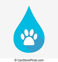 Isolated water drop with an animal footprint