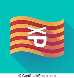 Long shadow Catalonia flag with  a Tongue sticking text face emoticon