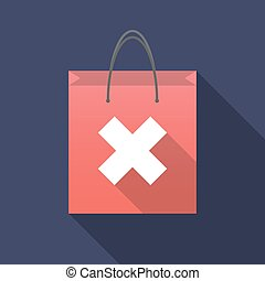 Long shadow shopping bag with an x sign - Illustration of a...