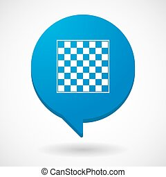 Isolated comic balloon with  a chess board