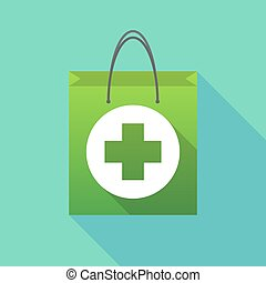 Long shadow shopping bag with a round pharmacy sign -...