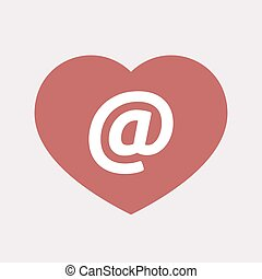 Isolated heart with an at sign