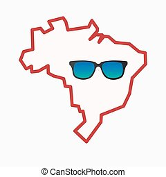 Isolated Brazil map with a sunglasses icon - Illustration of...