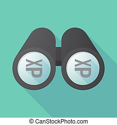 Long shadow binoculars with  a Tongue sticking text face emoticon