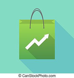Long shadow shopping bag with a graph