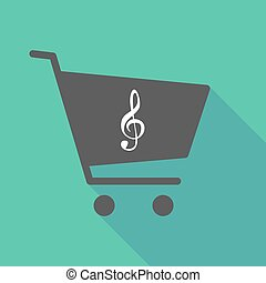 Long shadow shopping cart with a g clef - Illustration of a...