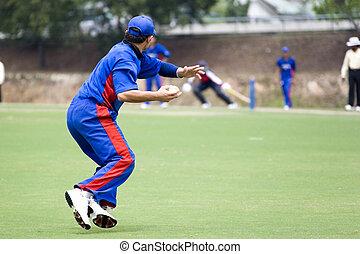 Cricket Game - Cricket game fielder in action.