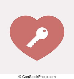 Isolated heart with a key