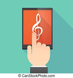 Long shadow tablet PC with a g clef - Illustration of a hand...