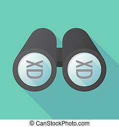 Long shadow binoculars with   a laughing text face