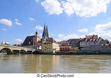 Regensburg, Germany - Old Town and the Danube. One of the...
