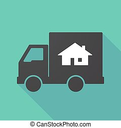 Long shadow truck with a house
