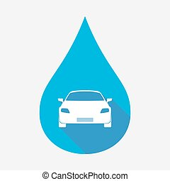 Isolated water drop with a car