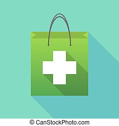 Long shadow shopping bag with a pharmacy sign - Illustration...