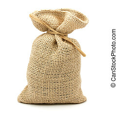Burlap Sack - Burlap gift sack isolated on white background