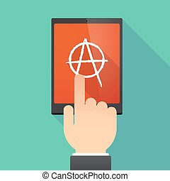 Long shadow tablet PC with an anarchy sign - Illustration of...
