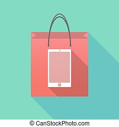 Long shadow shopping bag with a smart phone