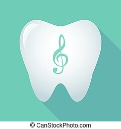 Long shadow tooth with a g clef - Illustration of a long...
