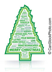 The magic words of the Christmas tr - cristmas tree vector...