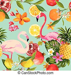 Seamless Tropical Fruits and Flamingo Pattern in Vector....